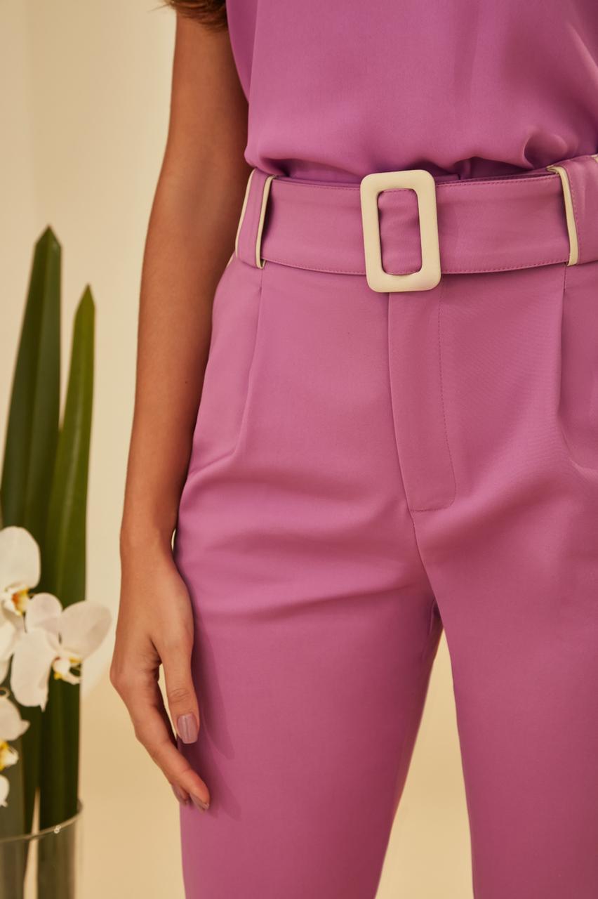 Calça Unique Alfaiataria Detalhe Passante Bicolor + Cinto 4% Elastano