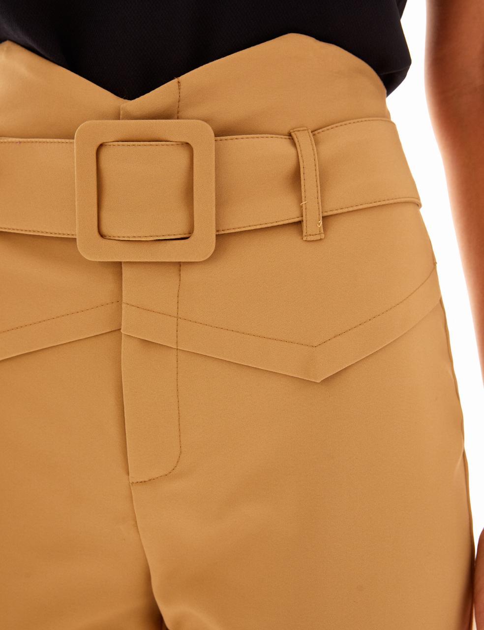 Calça Unique Skinny Alfaiataria Detalhe Nervuras + Cinto Fivelas Forrada 4% Elastano