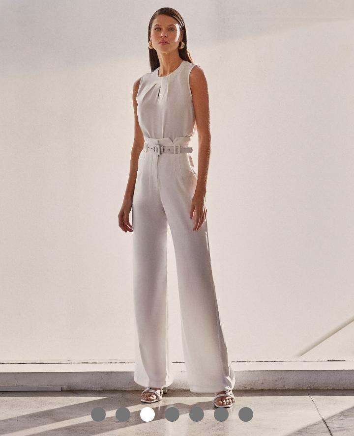 Calça Unique Crepe Alfaiataria Pantolona  Clochard + Cinto Forrado