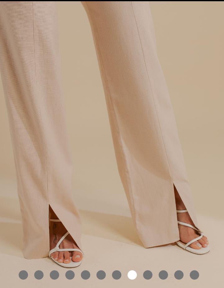 Calça Unique Linho Elastano Pantalona + Cinto Forrado