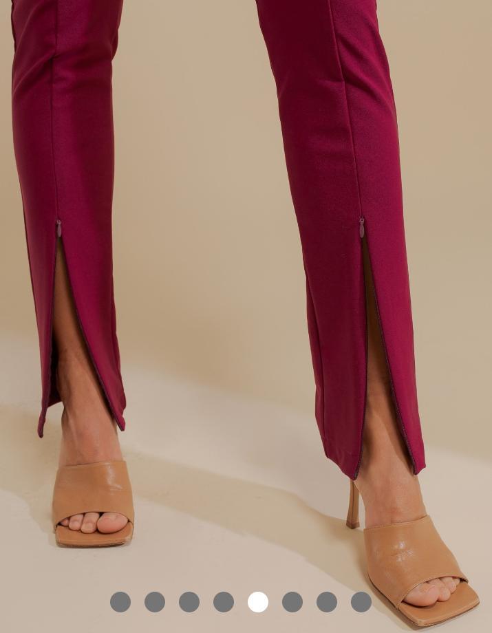 Calça Unique Malha Power Skinny Detalhe Ziper Frontal