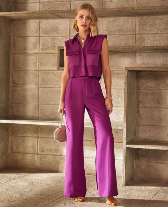 Calça Unique Pantalona 3% Elastano Detalhe Pregas