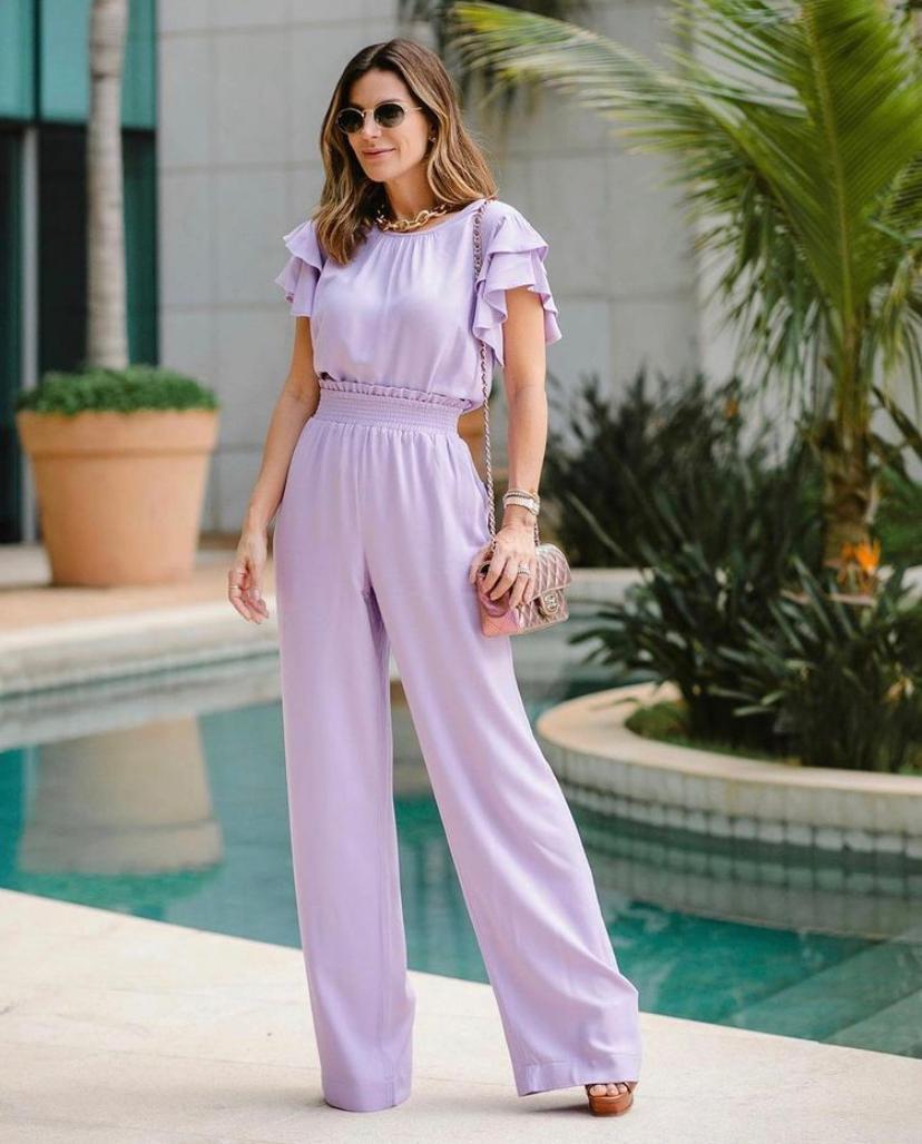 Calça Unique Pantalona Viscose Detalhe Elástico Cintura