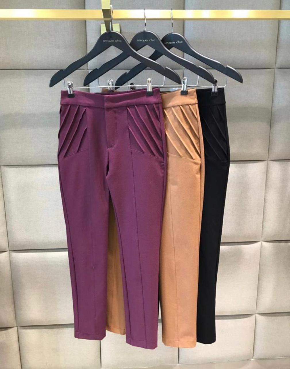 Calça Unique  Poliamida 10% Elastano Cores Purpura e Preto