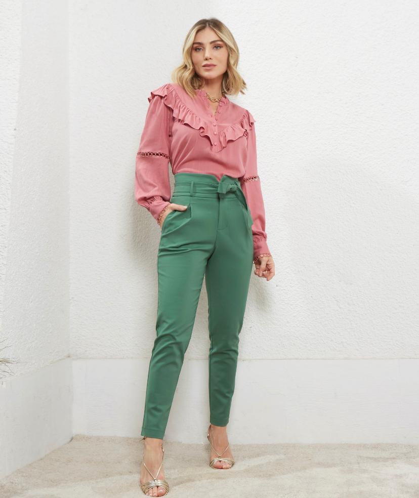 Calça Unique Skinny Amarração Cinto 4% Elastano