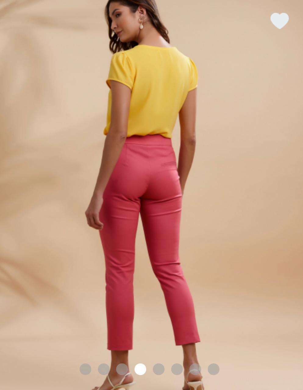 Calça Unique Skinny Bolso Recortes Cores Marinho, Verde e Rosa 3%  Elastano