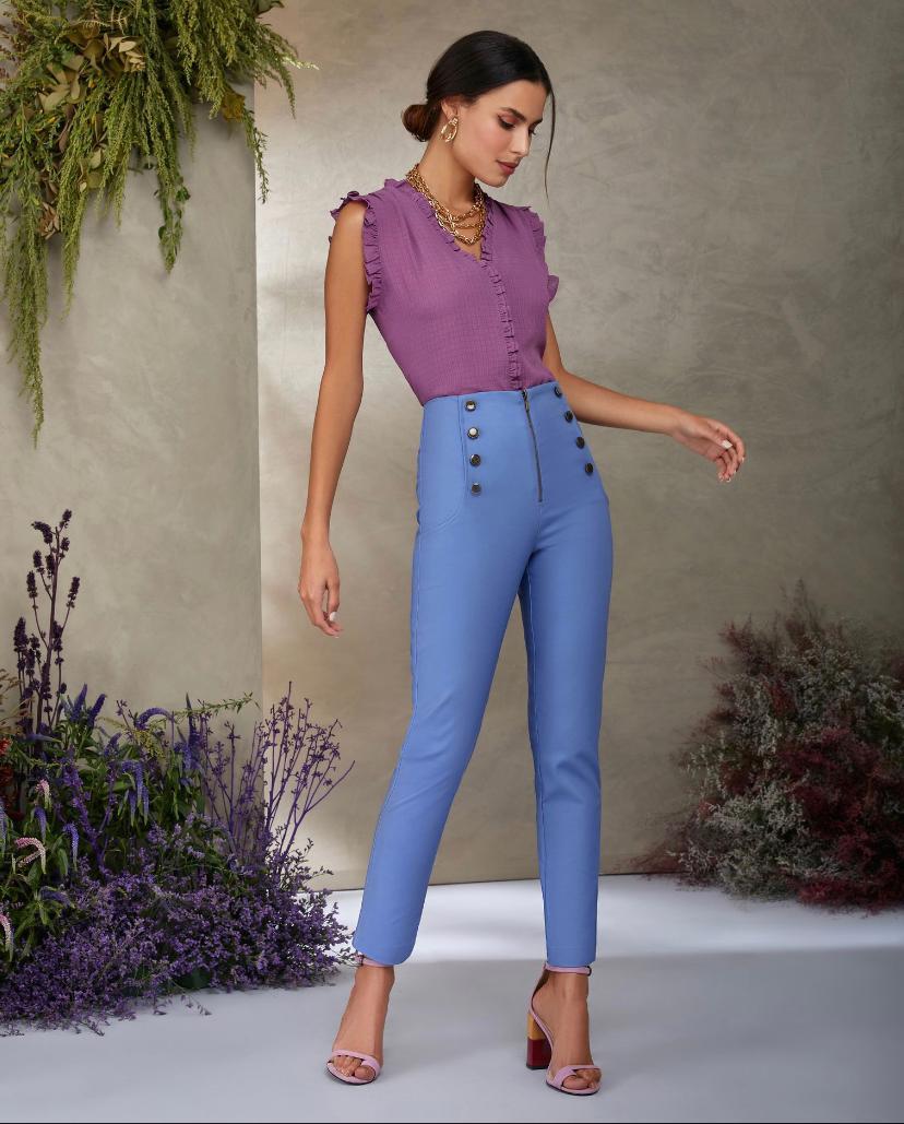 Calça Unique skinny Botões Frente  97% Algodão 3% Elastano