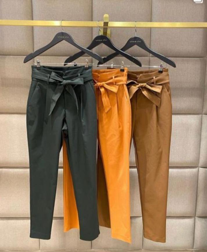 Calça Unique Skinny Cinto Amarração 3% Elastano 63% Algodao 34% Poliester