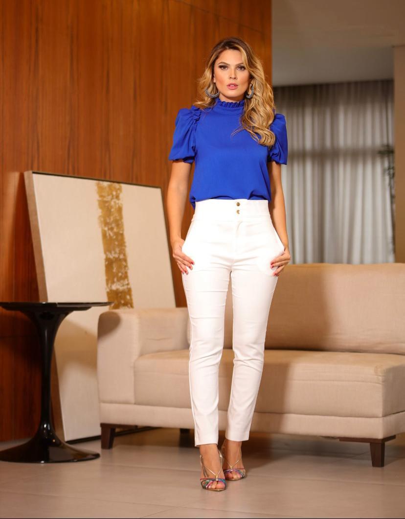 Calça Unique Skinny Pesponto Cós  50% Algodão 46% Poliamida 4% elastano