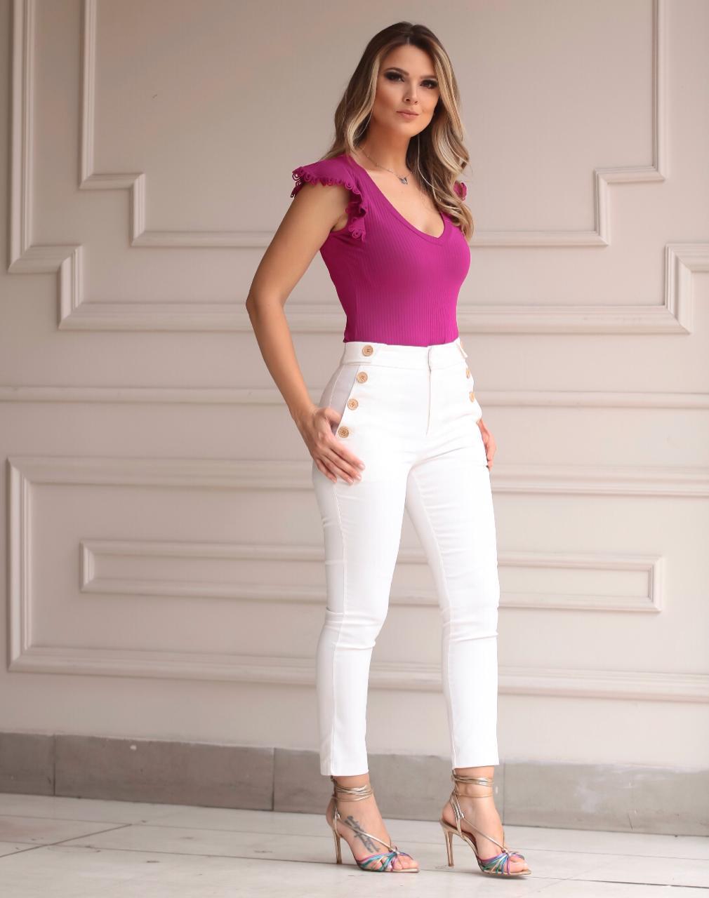 Calça Unique Skinny Sarja Botões 3 % Elastano