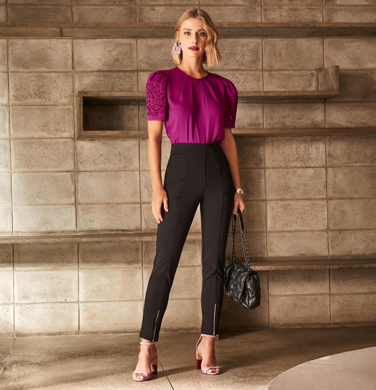 Calça  Unique Skinny Ziper na Barra 63% Poliamida 27% Algodão 10% Elastano