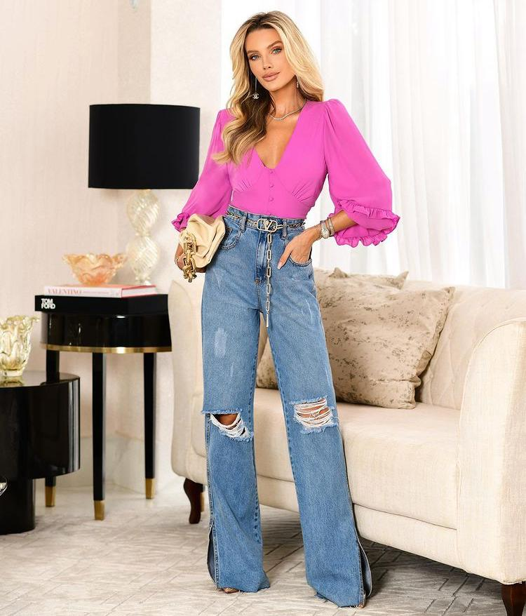 Calça Leticia Jeans Wide Leg Detalhe Fenda