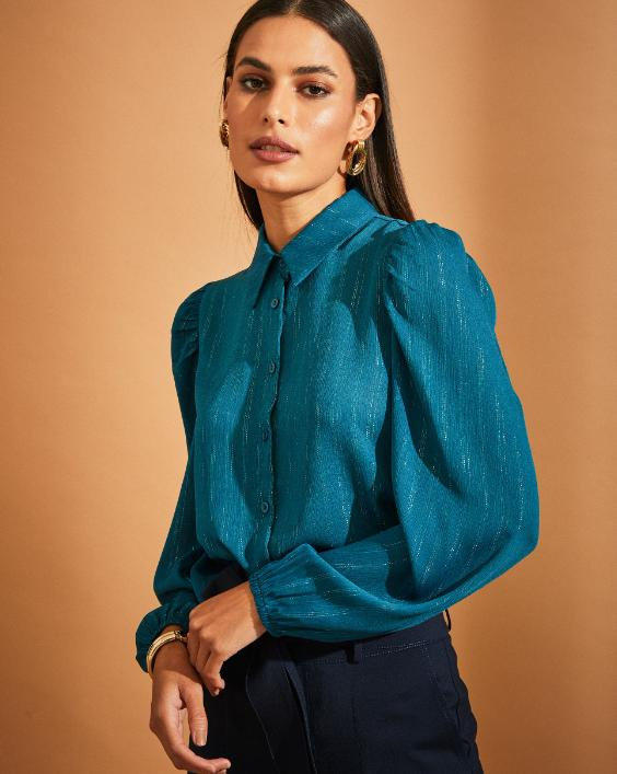 Camisa Adriana Chiffon Detalhe Lurex Manga Bufante