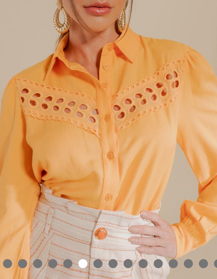 Camisa Alexandra Visco Textura Linho C/ Renda