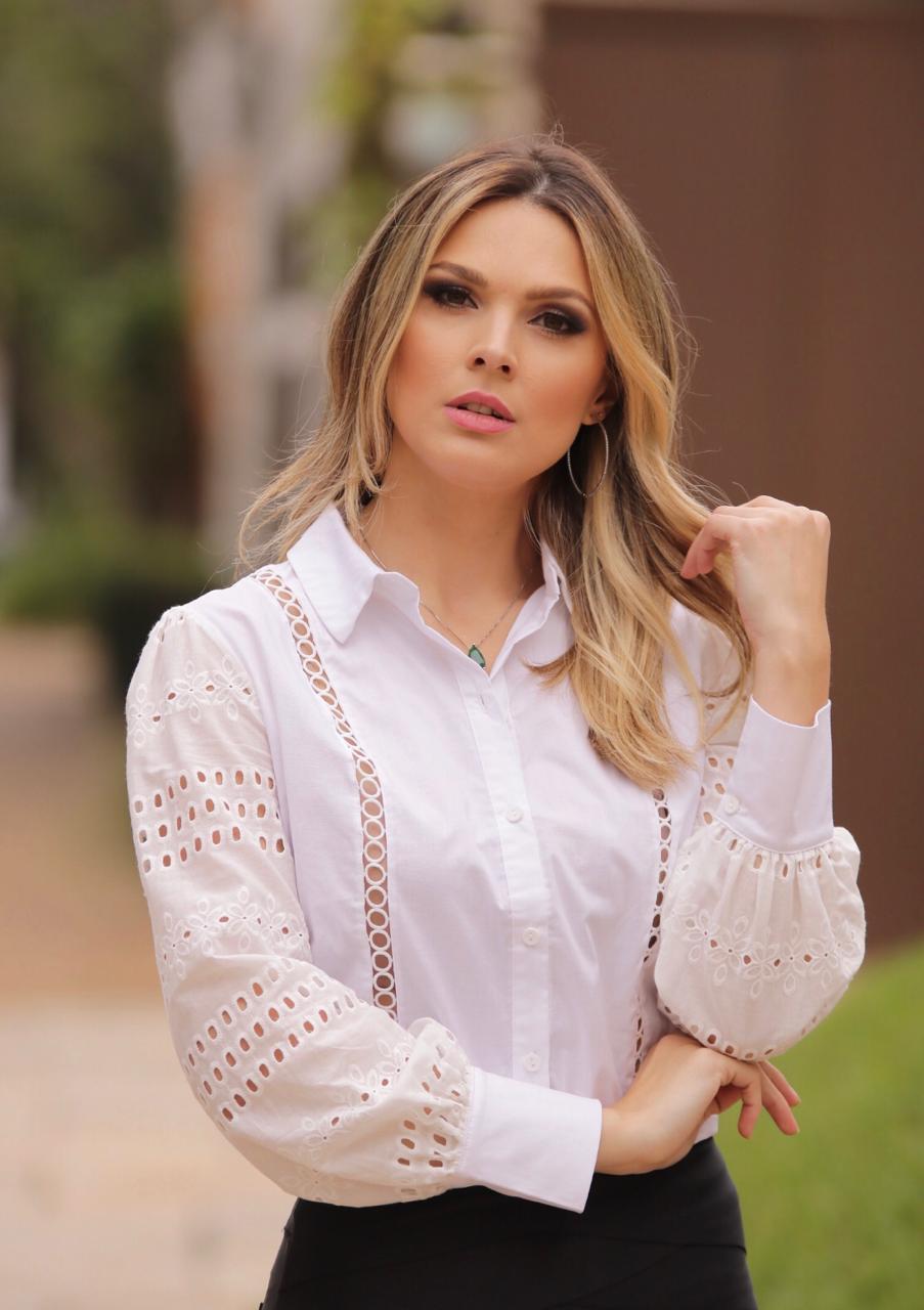 Camisa Celina Tricoline com MG laise