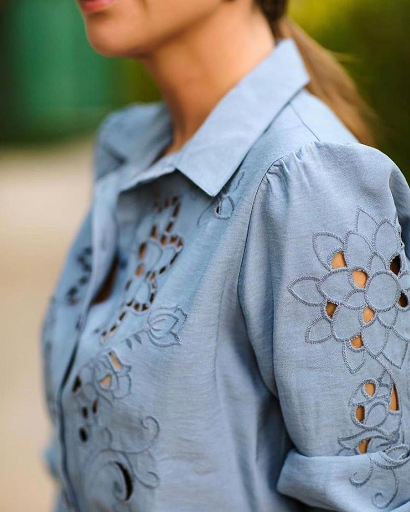 Camisa Ariane Bordado Frente 90% Viscose 10% Crepe