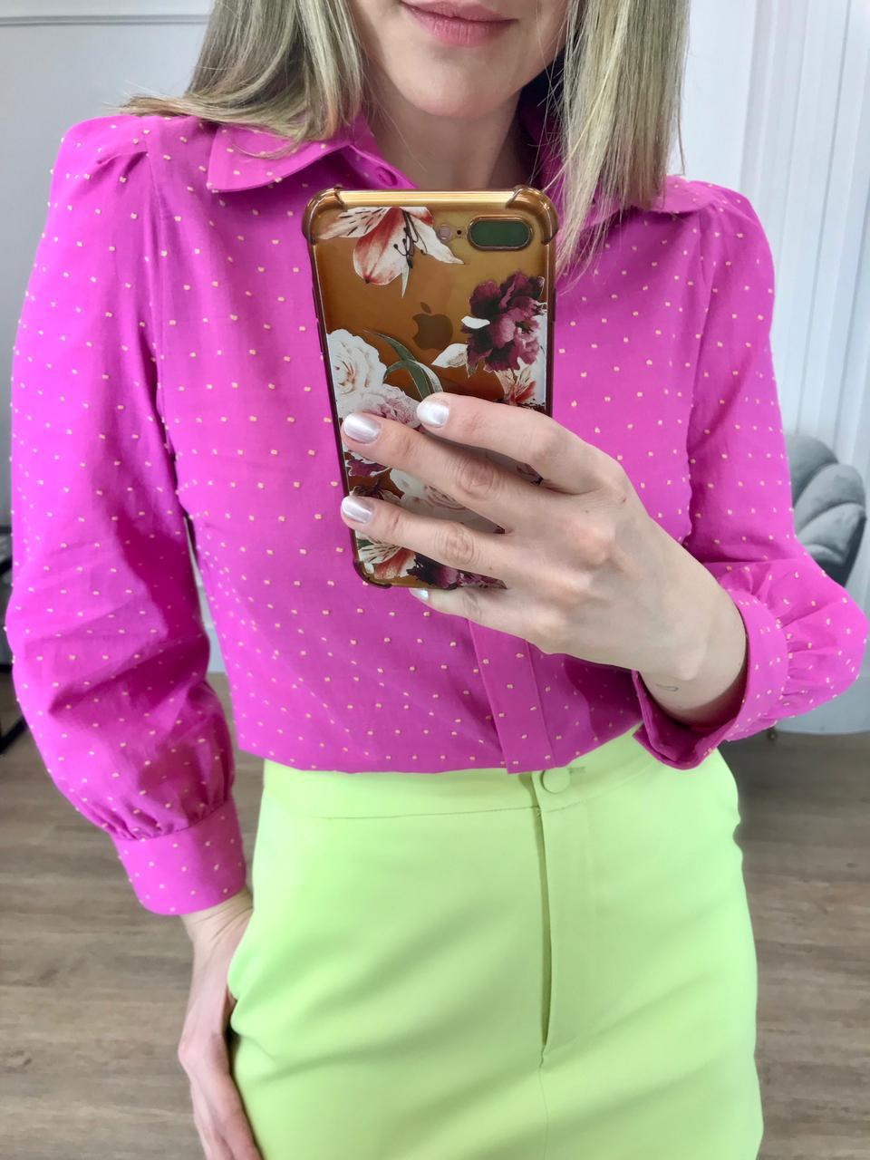 Camisa Ariane Cotton Detalhe Mini Poás Relevo Manga Bufante 3/4