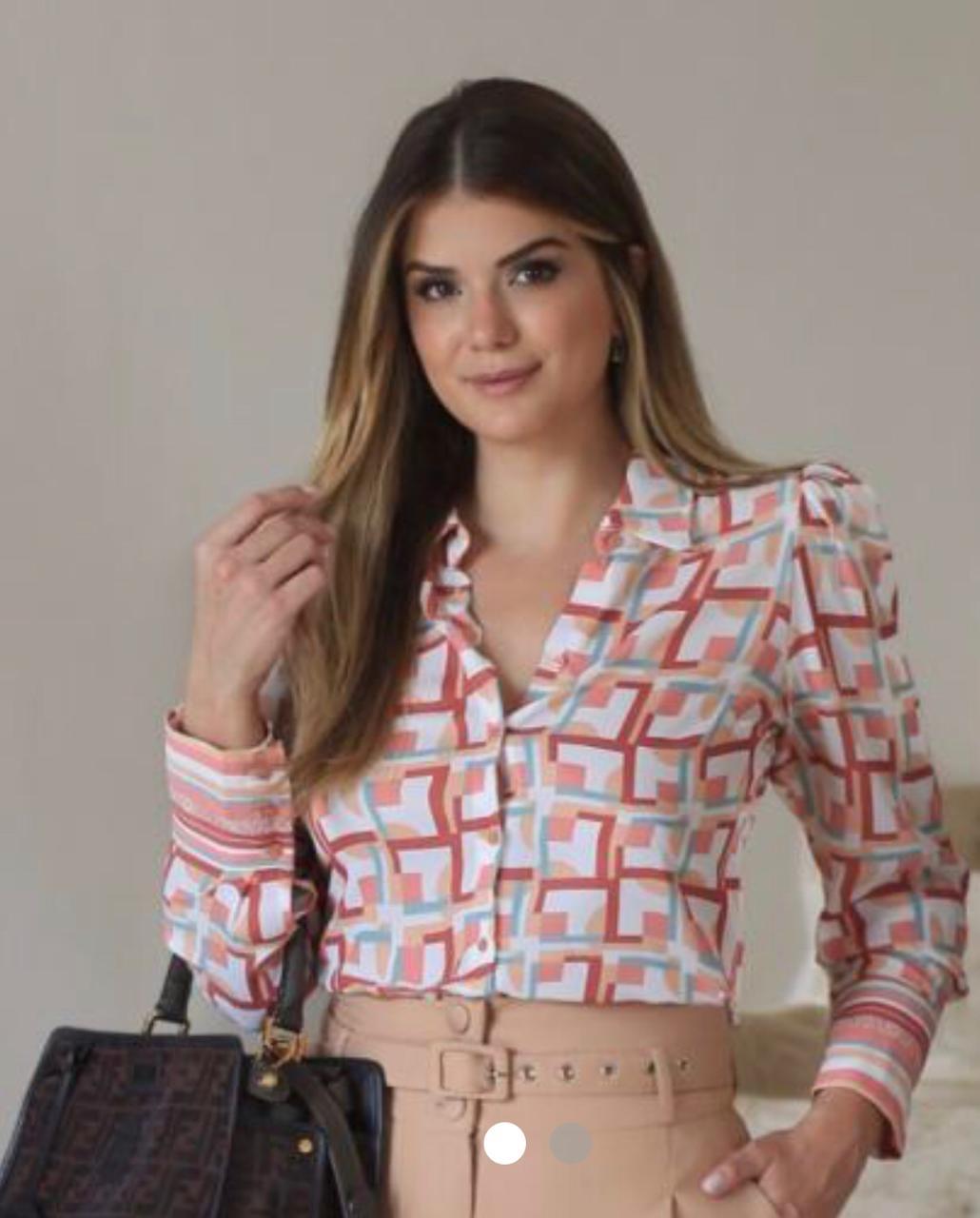 Camisa Ariane  Crepe Print Geometric