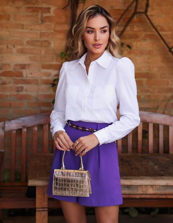 Camisa Ariane Tricoline 3% Elastano Detalhe Manga Bufante