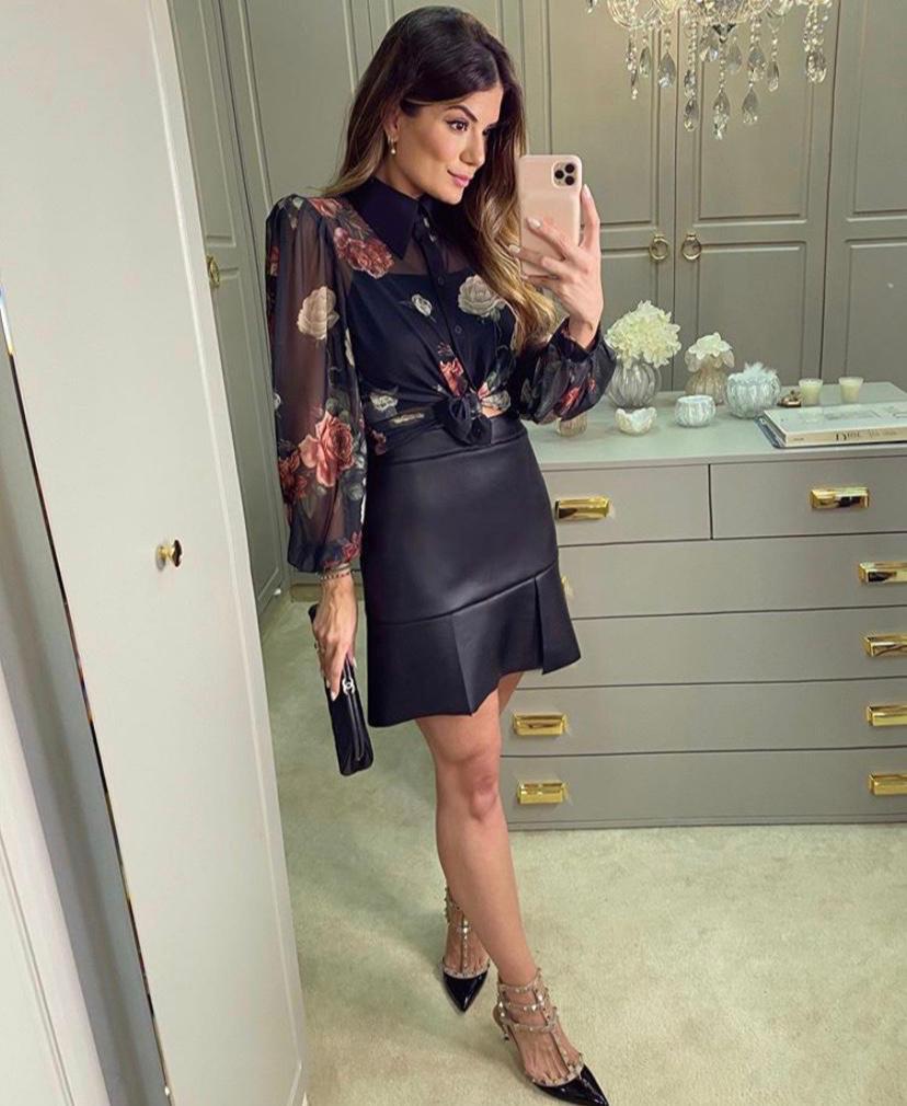 Camisa Ariane Tule Floral + Forro