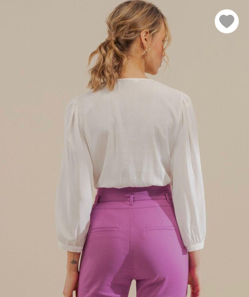 Camisa Ariane Viscose Detalhe Renda Frente