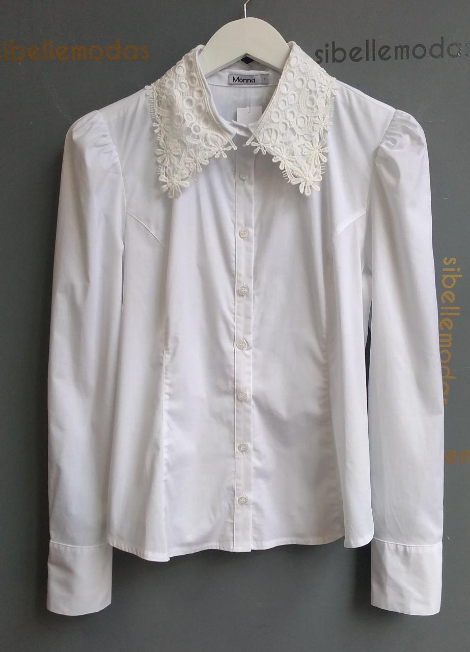Camisa Audrey Morina Tricoline 3% Elastano Detalhe Renda Gola