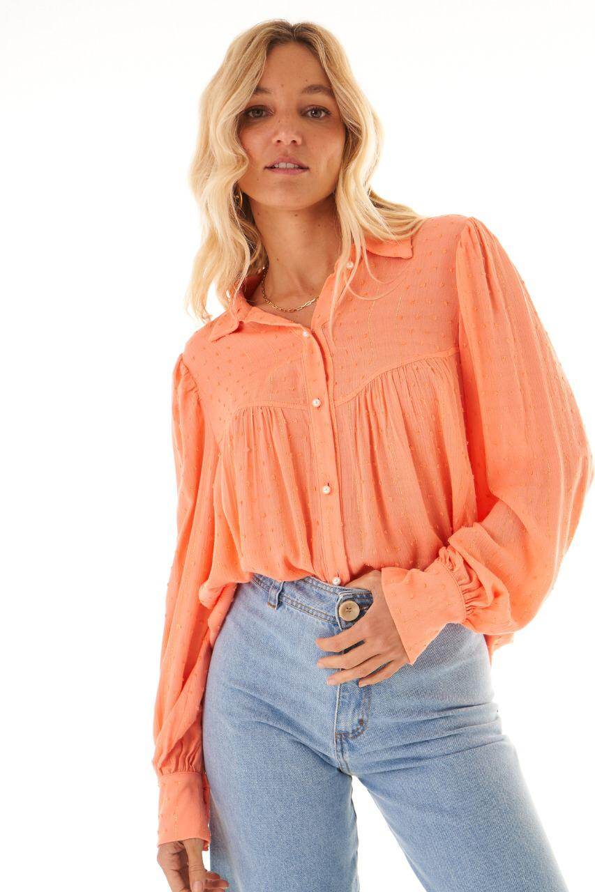 Camisa  Provence  Bata Manga Bufante Detalhe Botões Perola