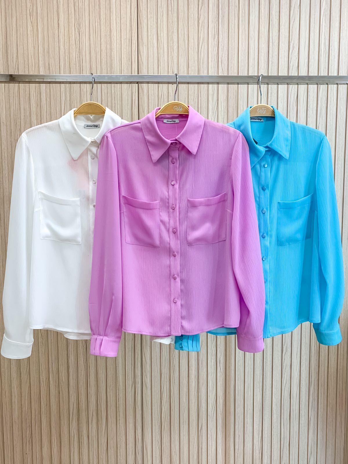 Camisa Betania Yoryu Chiffon Detalhe Punho Pregas Botões Perolados