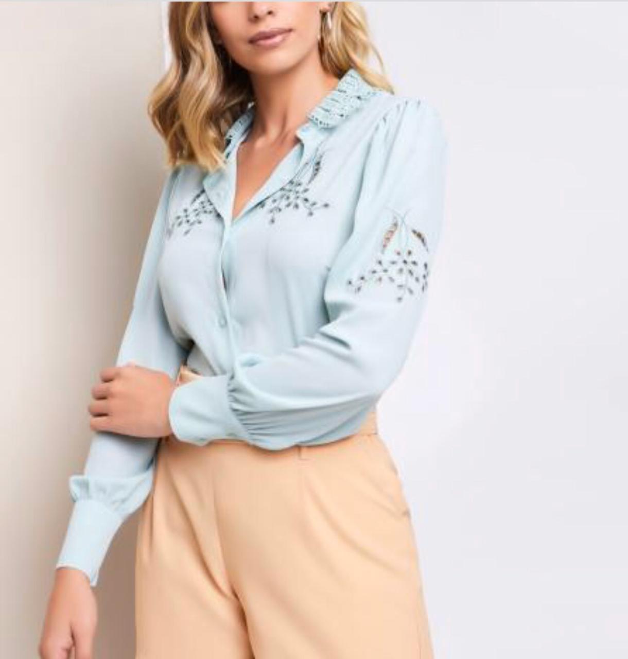 Camisa Bianca Crepe Bordada Gola Renda