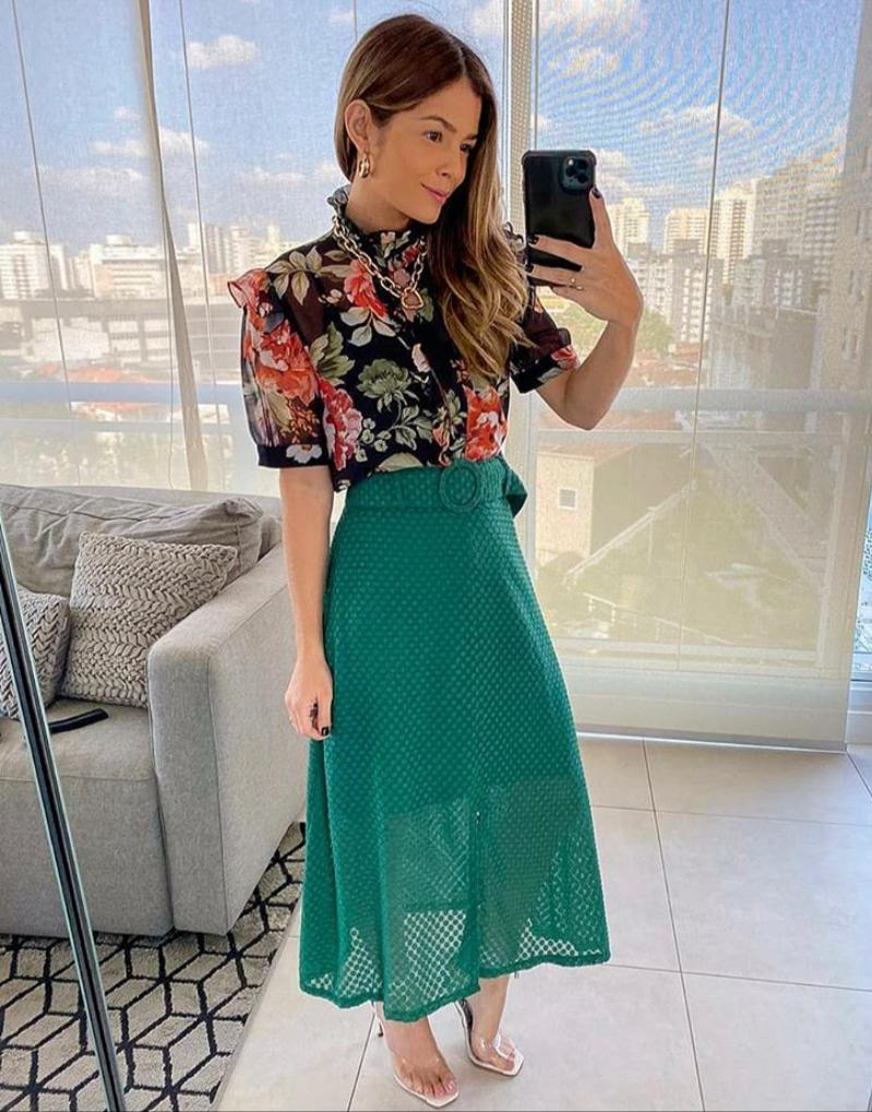 Camisa Dayana Crepe Floral+ Regata Crepe