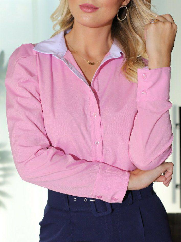 Camisa Diane Tricoline Detalhe Bicolor Fechamento Botões Frontais