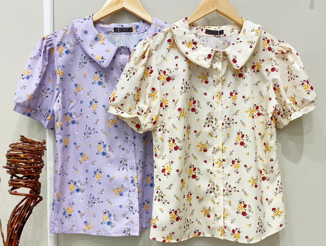 Camisa Eliana Crepe Floral Manga Bufante Detalhe Gola