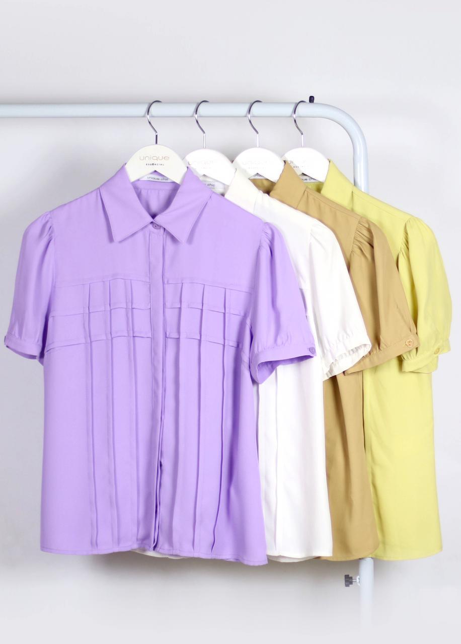 Camisa Eloisa Crepe Manga Curta Detalhe Recortes