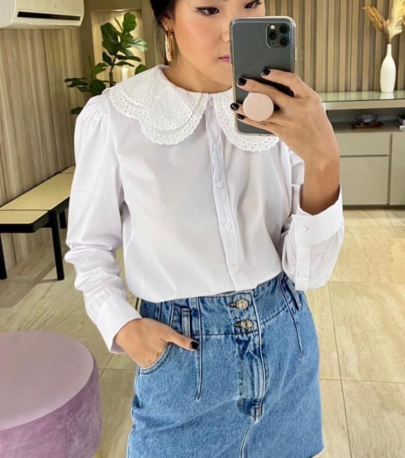 Camisa Esmeral Tricoline 3% Elastano 68% Algodão Big Collar