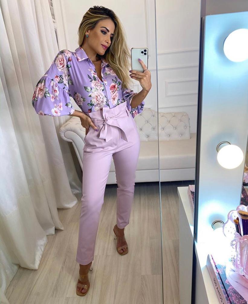 Camisa Fernanda Crepe Floral