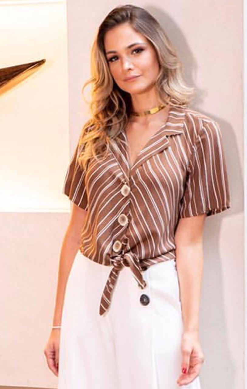 Camisa Gabi Viscose listras detalhe amarração: marron, marinho,eoff