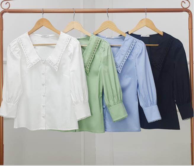 Camisa Gisele Tricoline  Manga 3/4 Gola guipir