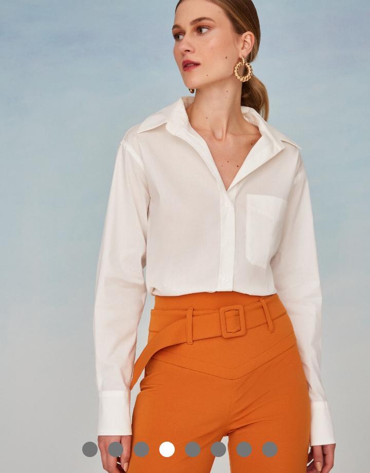 Camisa Helena Tricoline Basica Detalhe Bolso