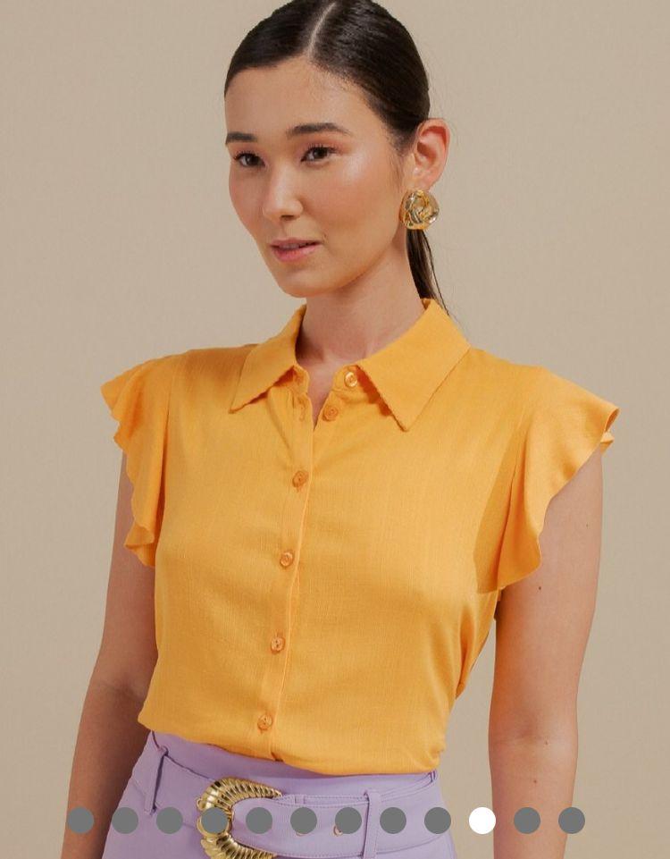 Camisa Isabel Viscose Textura Detalhe Babado Cava