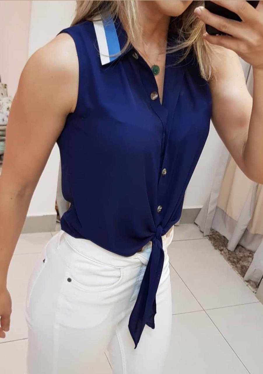Blusa  Julia Crepe Amarração Cores Bege, Marinho e Verde (PROMOÇAÕ)