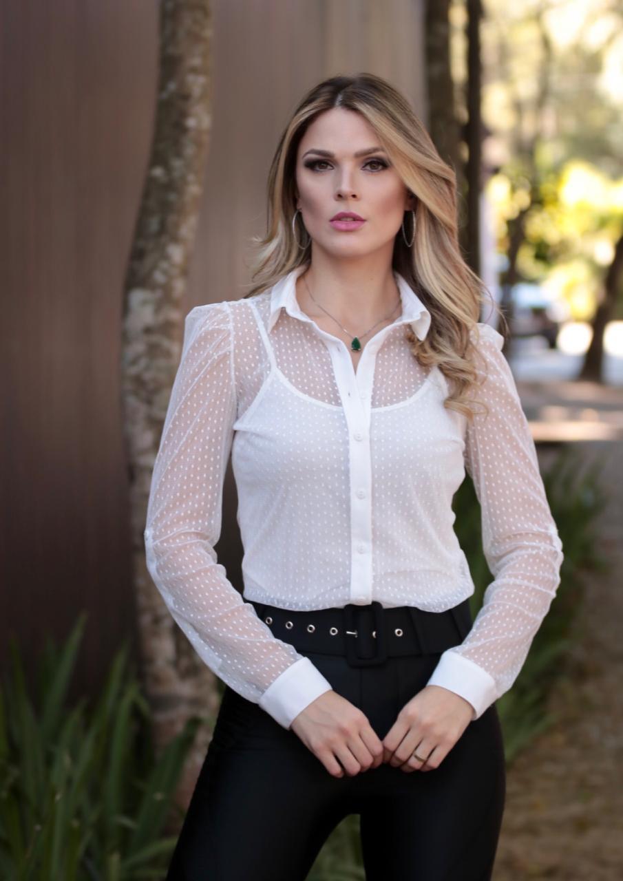 Camisa Julie Tule Poa com Alfaitaria + Regata