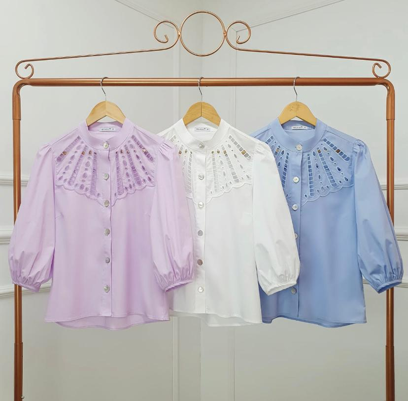 Camisa Poliana Tricoline  Pala Bordada