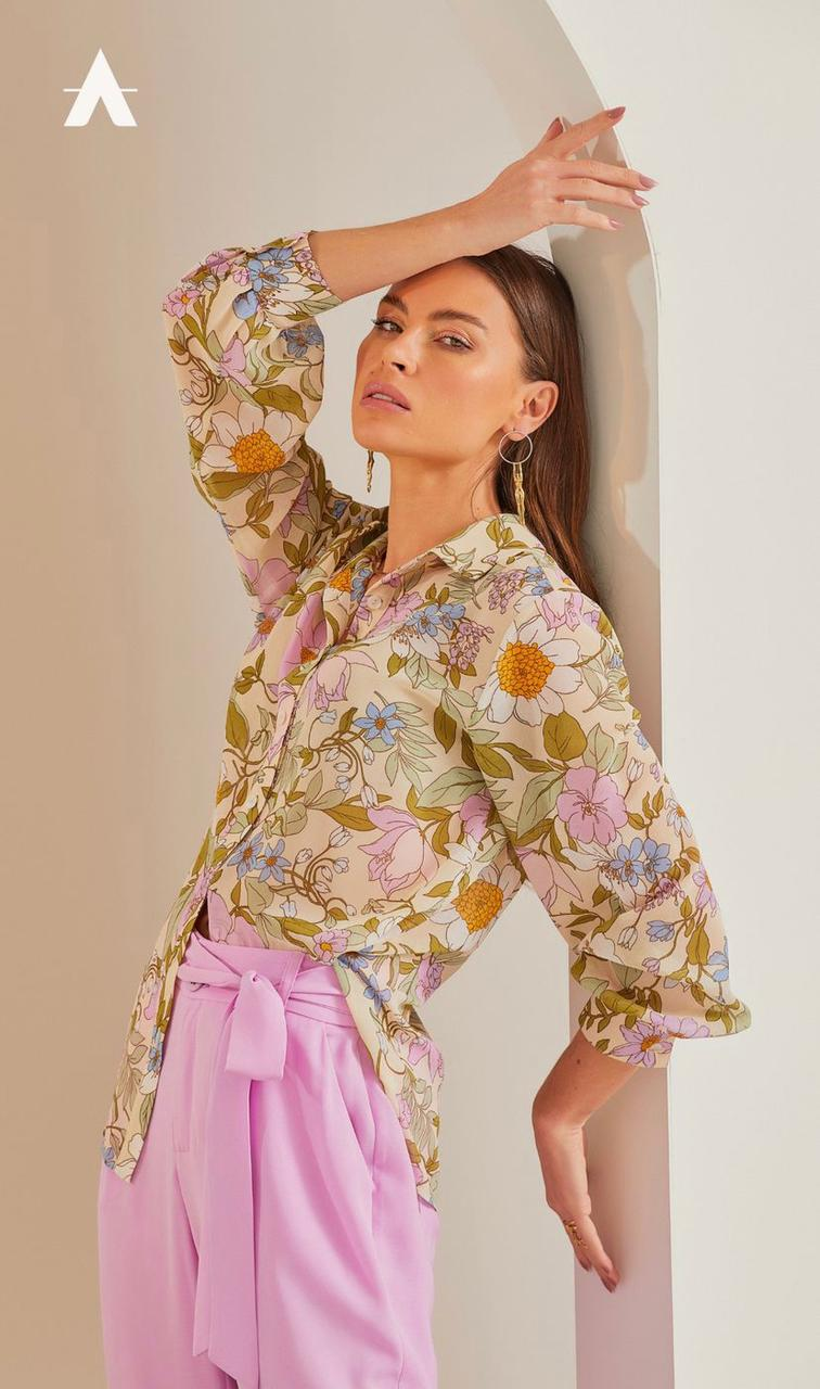 Camisa Kaline Floral Chiffon Manga Longa