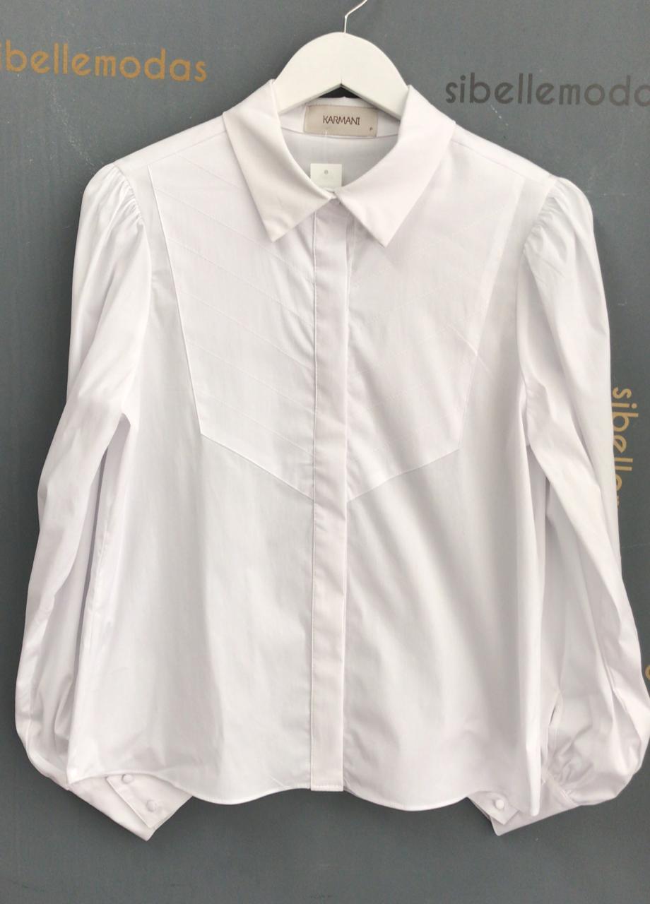Camisa Juliana  Tricoline  Misto  Detalhe  Pesponto  3% Elastano