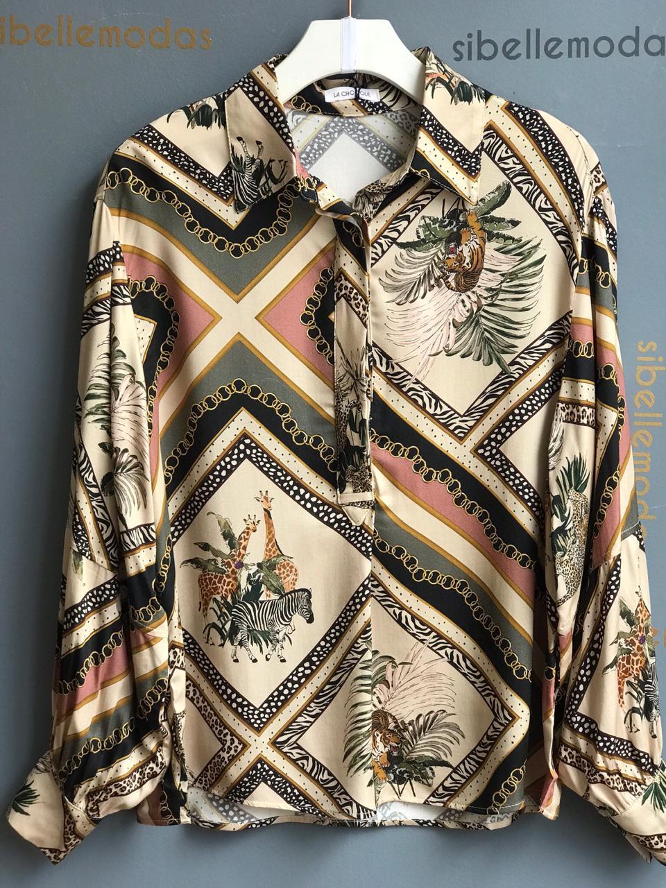 Camisa La Chocole  Viscose Estampa Africa