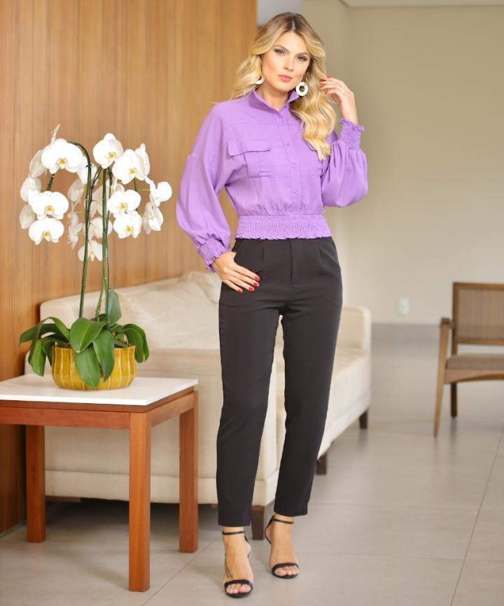 Camisa Lavinia Crepe Detalhe Lastex C/Bolso