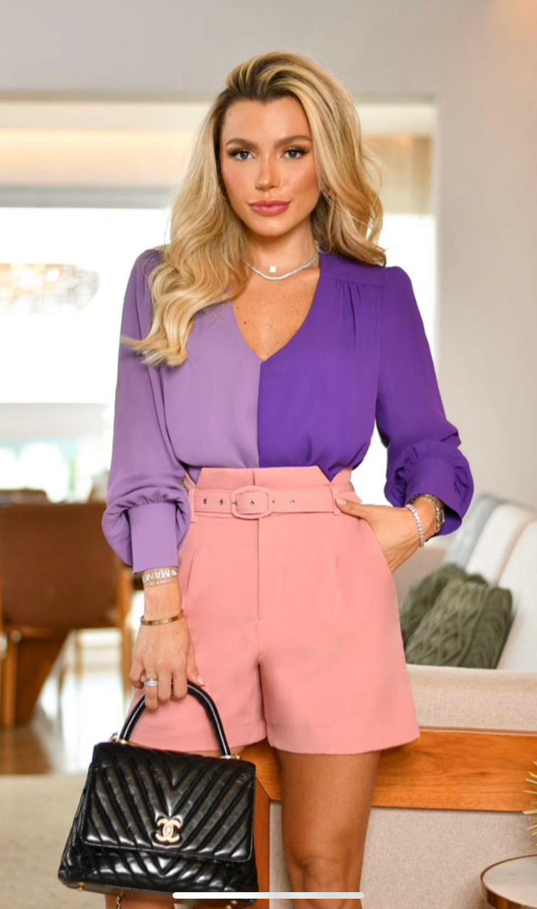 Camisa Liliane Crepe Bicolor