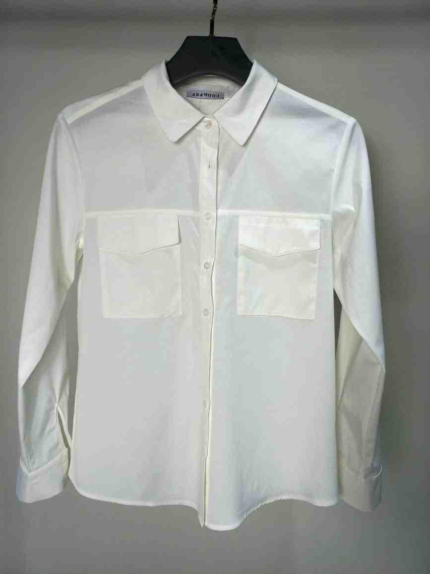 Camisa Mira Tricoline Detalhe Bolsos Frontais Fechamento Botões 3% Elastano