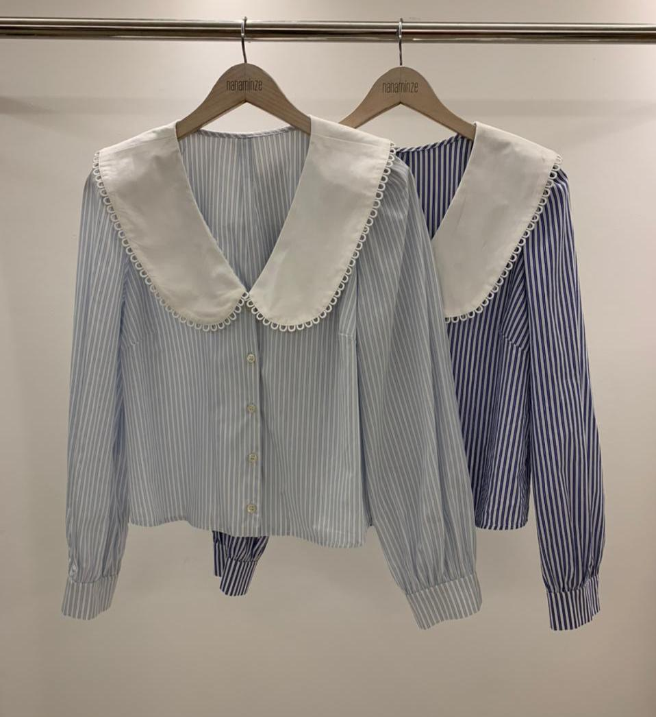 Camisa Mira Tricoline Listras Gola Boneca Detalhe Renda