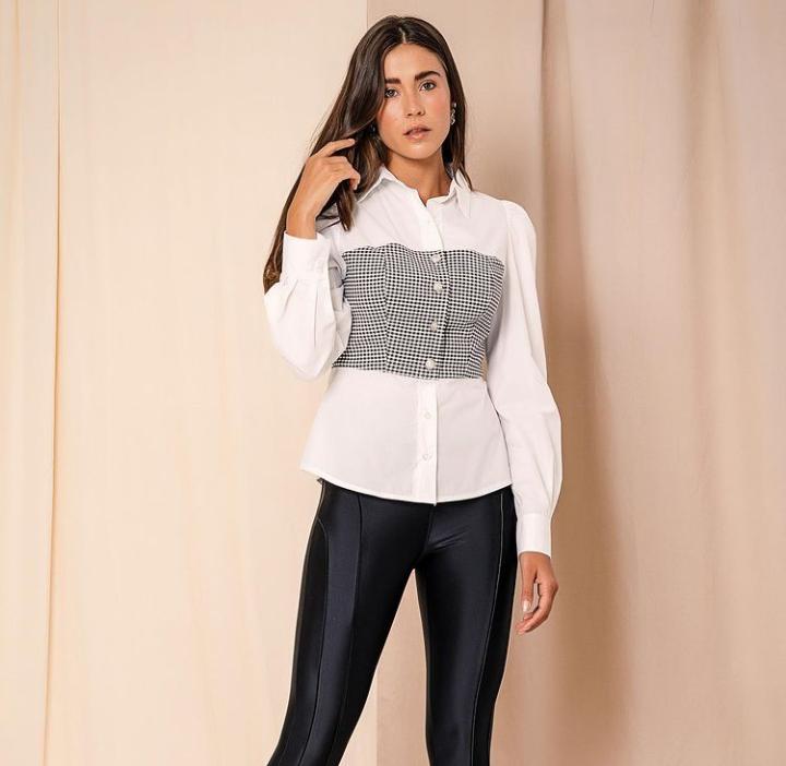 Camisa Morina Camile Tricoline 4% Elastano Detalhe Top Xadrez